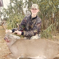 She Shot this one at 150 yards with her 30-06 weighed in at 198lbs.