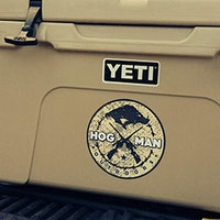 Spotted Hogman Outdoors logo on Yeti cooler at Ranch in Sheridan, Texas